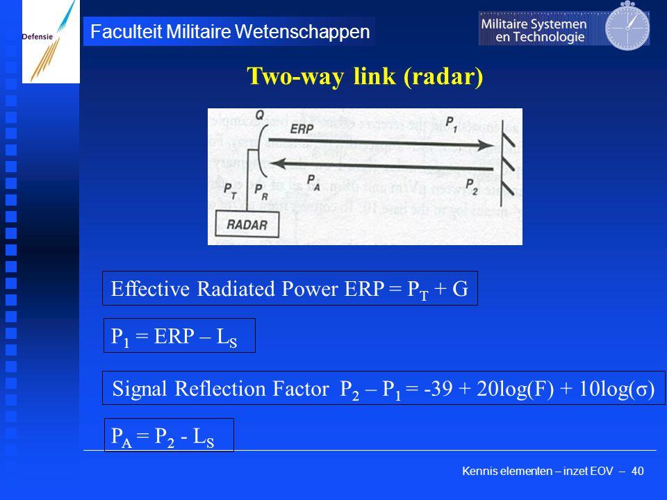 Kennis elementen – inzet EOV – 40 Faculteit Militaire Wetenschappen Two-way link (radar) Effective Radiated Power ERP = P T + G P 1 = ERP – L S Signal Reflection Factor P 2 – P 1 = -39 + 20log(F) + 10log(σ) P A = P 2 - L S