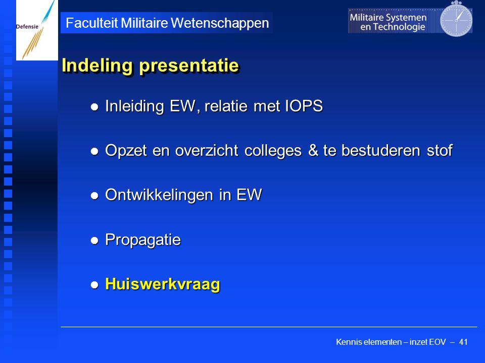 Kennis elementen – inzet EOV – 41 Faculteit Militaire Wetenschappen Indeling presentatie Inleiding EW, relatie met IOPS Inleiding EW, relatie met IOPS