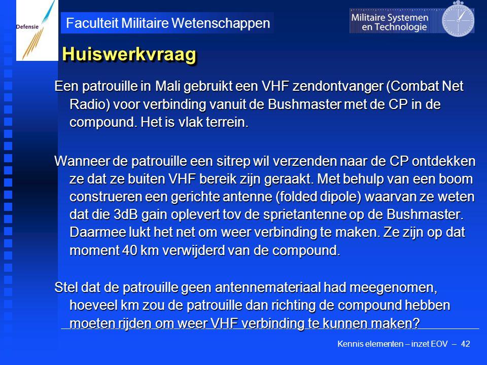 Kennis elementen – inzet EOV – 42 Faculteit Militaire Wetenschappen HuiswerkvraagHuiswerkvraag Een patrouille in Mali gebruikt een VHF zendontvanger (