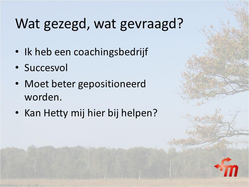 Wat gezegd, wat gevraagd? Ik heb een coachingsbedrijf Succesvol Moet beter gepositioneerd worden. Kan Hetty mij hier bij helpen?