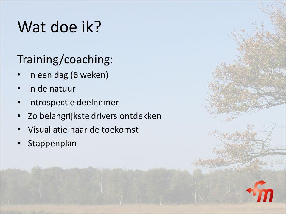 Wat doe ik? Training/coaching: In een dag (6 weken) In de natuur Introspectie deelnemer Zo belangrijkste drivers ontdekken Visualiatie naar de toekoms