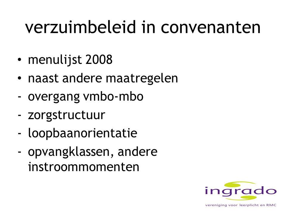 verzuimbeleid in convenanten menulijst 2008 naast andere maatregelen -overgang vmbo-mbo -zorgstructuur -loopbaanorientatie -opvangklassen, andere inst