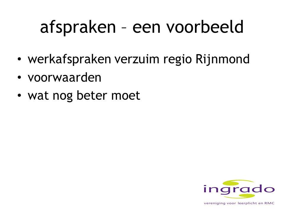 afspraken – een voorbeeld werkafspraken verzuim regio Rijnmond voorwaarden wat nog beter moet