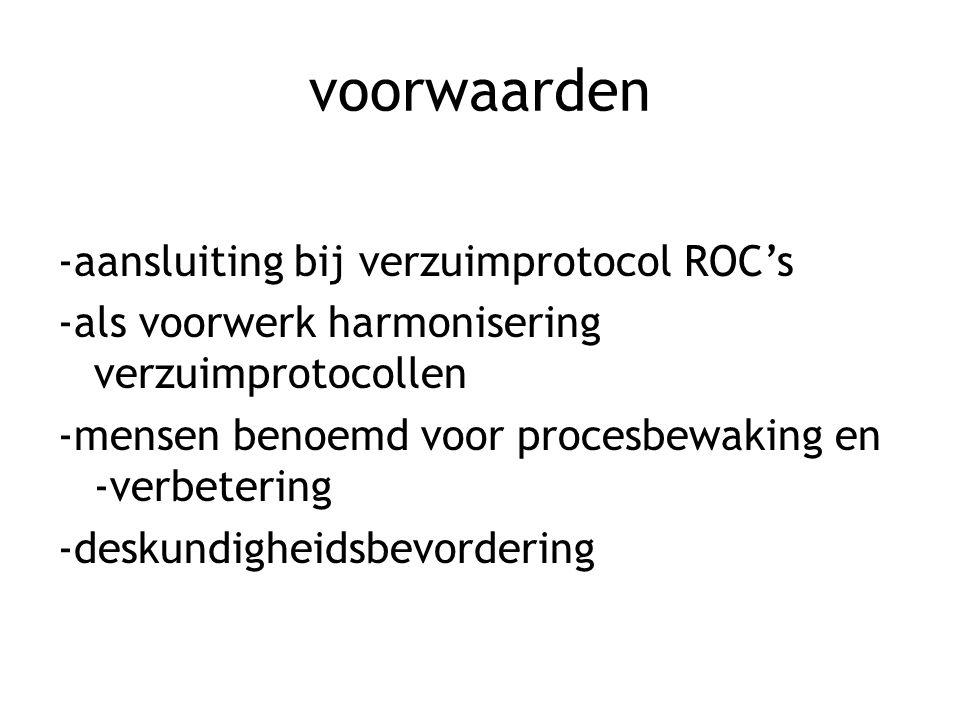 voorwaarden -aansluiting bij verzuimprotocol ROC's -als voorwerk harmonisering verzuimprotocollen -mensen benoemd voor procesbewaking en -verbetering