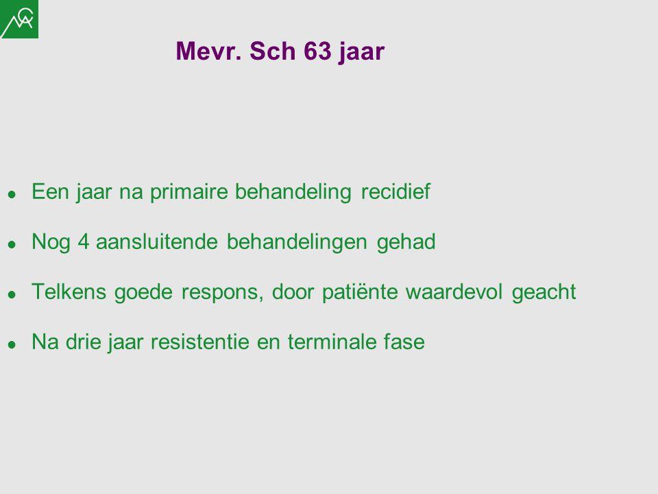 Mevr. Sch 63 jaar Een jaar na primaire behandeling recidief Nog 4 aansluitende behandelingen gehad Telkens goede respons, door patiënte waardevol geac
