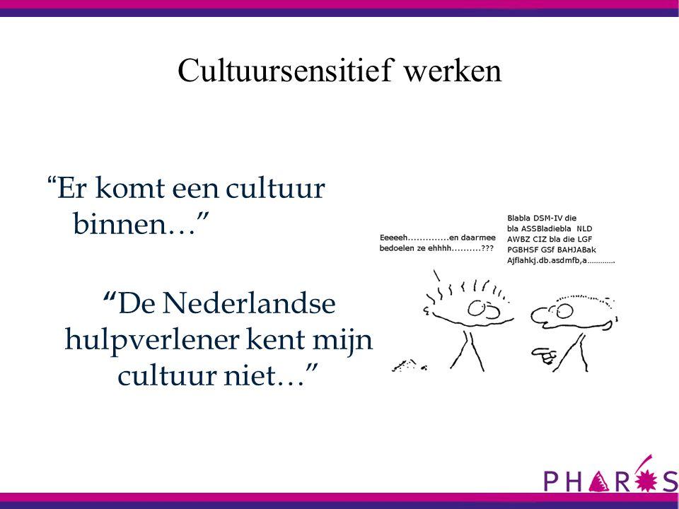 """"""" Er komt een cultuur binnen…"""" Cultuursensitief werken """" De Nederlandse hulpverlener kent mijn cultuur niet…"""""""