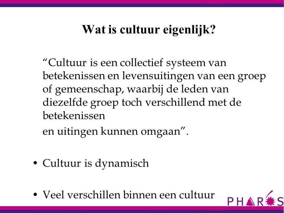 """Wat is cultuur eigenlijk? """"Cultuur is een collectief systeem van betekenissen en levensuitingen van een groep of gemeenschap, waarbij de leden van die"""