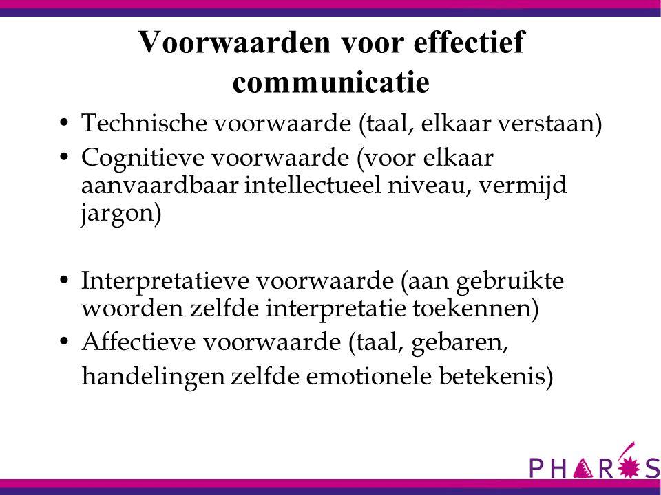 Voorwaarden voor effectief communicatie Technische voorwaarde (taal, elkaar verstaan) Cognitieve voorwaarde (voor elkaar aanvaardbaar intellectueel ni
