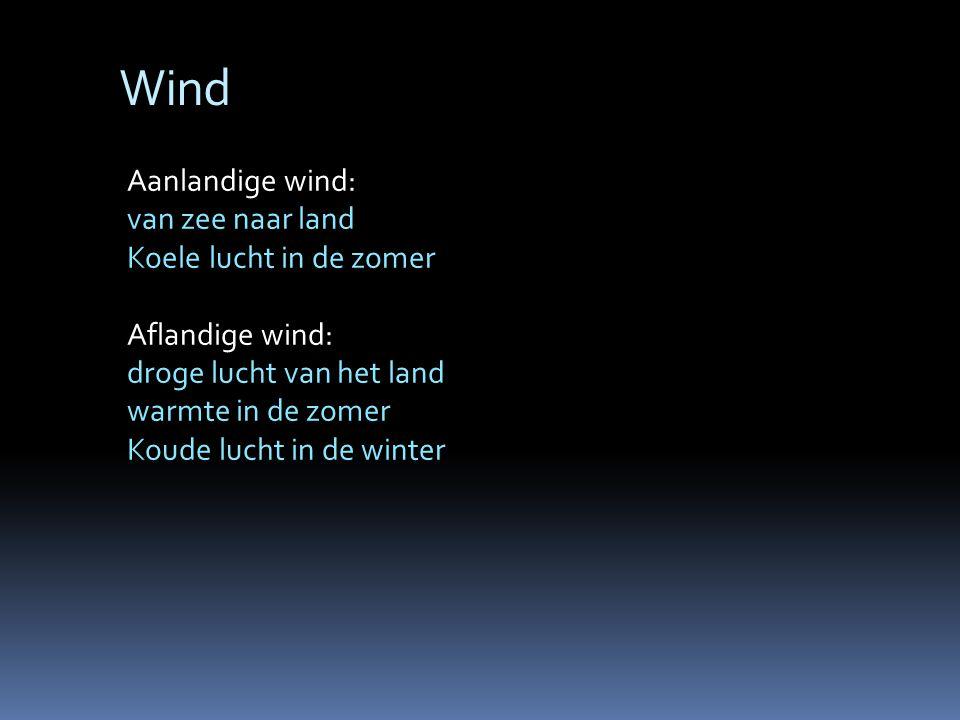 Wind Aanlandige wind: van zee naar land Koele lucht in de zomer Aflandige wind: droge lucht van het land warmte in de zomer Koude lucht in de winter