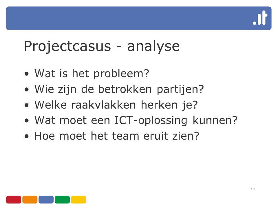10 Projectcasus - analyse Wat is het probleem? Wie zijn de betrokken partijen? Welke raakvlakken herken je? Wat moet een ICT-oplossing kunnen? Hoe moe