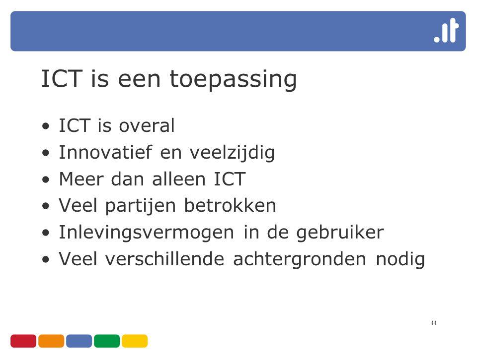11 ICT is een toepassing ICT is overal Innovatief en veelzijdig Meer dan alleen ICT Veel partijen betrokken Inlevingsvermogen in de gebruiker Veel verschillende achtergronden nodig