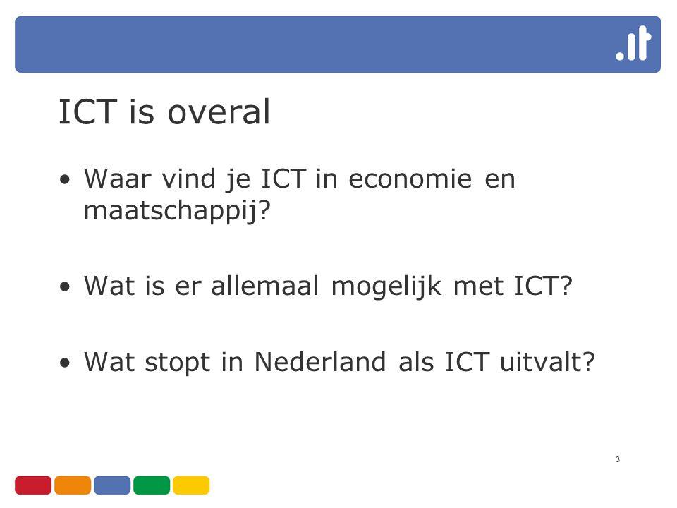 3 ICT is overal Waar vind je ICT in economie en maatschappij? Wat is er allemaal mogelijk met ICT? Wat stopt in Nederland als ICT uitvalt?