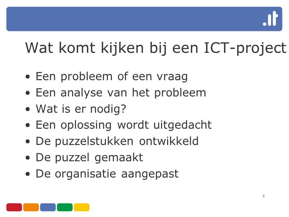 6 Wat komt kijken bij een ICT-project Een probleem of een vraag Een analyse van het probleem Wat is er nodig? Een oplossing wordt uitgedacht De puzzel