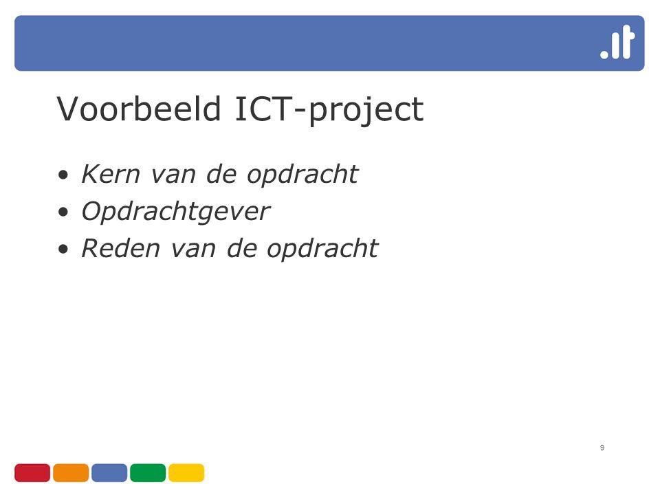 9 Voorbeeld ICT-project Kern van de opdracht Opdrachtgever Reden van de opdracht