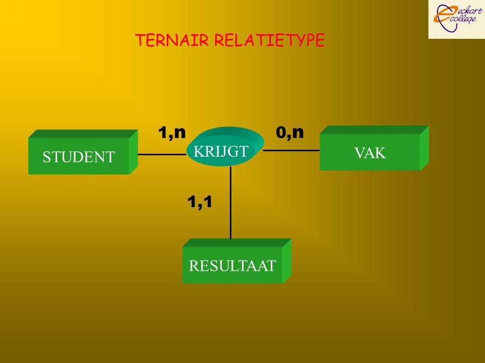 STUDENT VAK KRIJGT 1, n 0, n RESULTAAT 1,1 TERNAIR RELATIETYPE