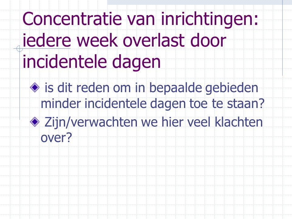 Concentratie van inrichtingen: iedere week overlast door incidentele dagen is dit reden om in bepaalde gebieden minder incidentele dagen toe te staan.