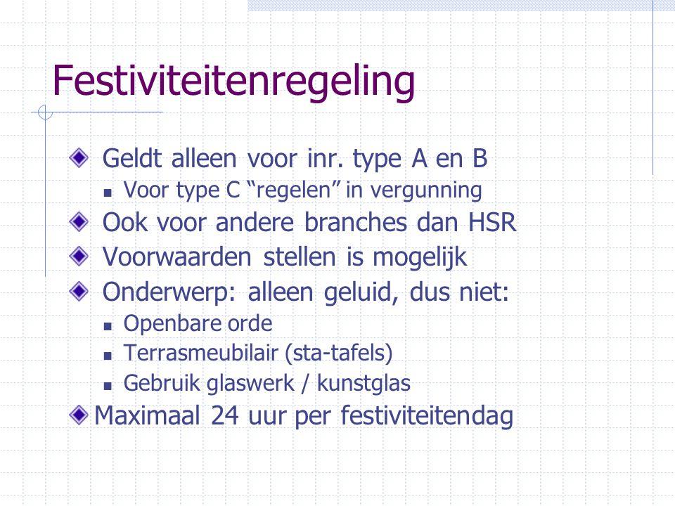 Festiviteitenregeling Geldt alleen voor inr.