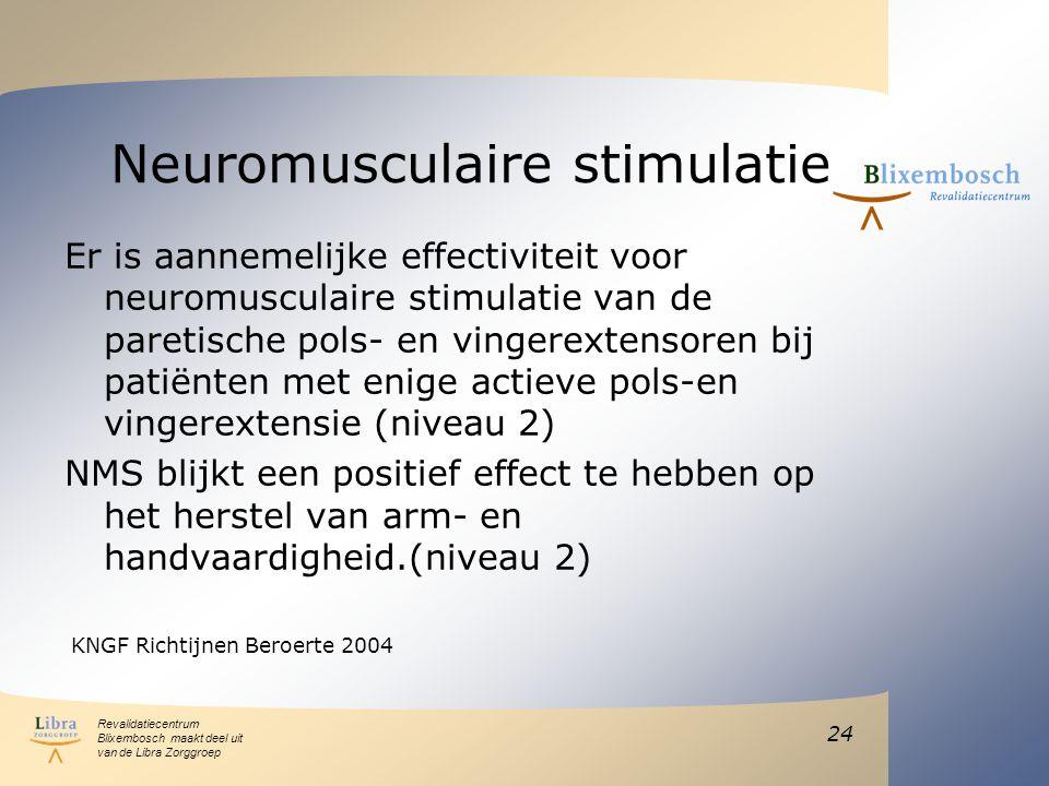 Revalidatiecentrum Blixembosch maakt deel uit van de Libra Zorggroep Neuromusculaire stimulatie Er is aannemelijke effectiviteit voor neuromusculaire stimulatie van de paretische pols- en vingerextensoren bij patiënten met enige actieve pols-en vingerextensie (niveau 2) NMS blijkt een positief effect te hebben op het herstel van arm- en handvaardigheid.(niveau 2) KNGF Richtijnen Beroerte 2004 24