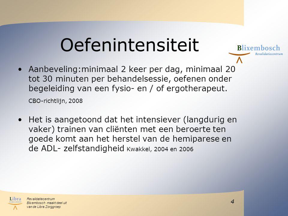 Revalidatiecentrum Blixembosch maakt deel uit van de Libra Zorggroep Oefenintensiteit Aanbeveling:minimaal 2 keer per dag, minimaal 20 tot 30 minuten per behandelsessie, oefenen onder begeleiding van een fysio- en / of ergotherapeut.