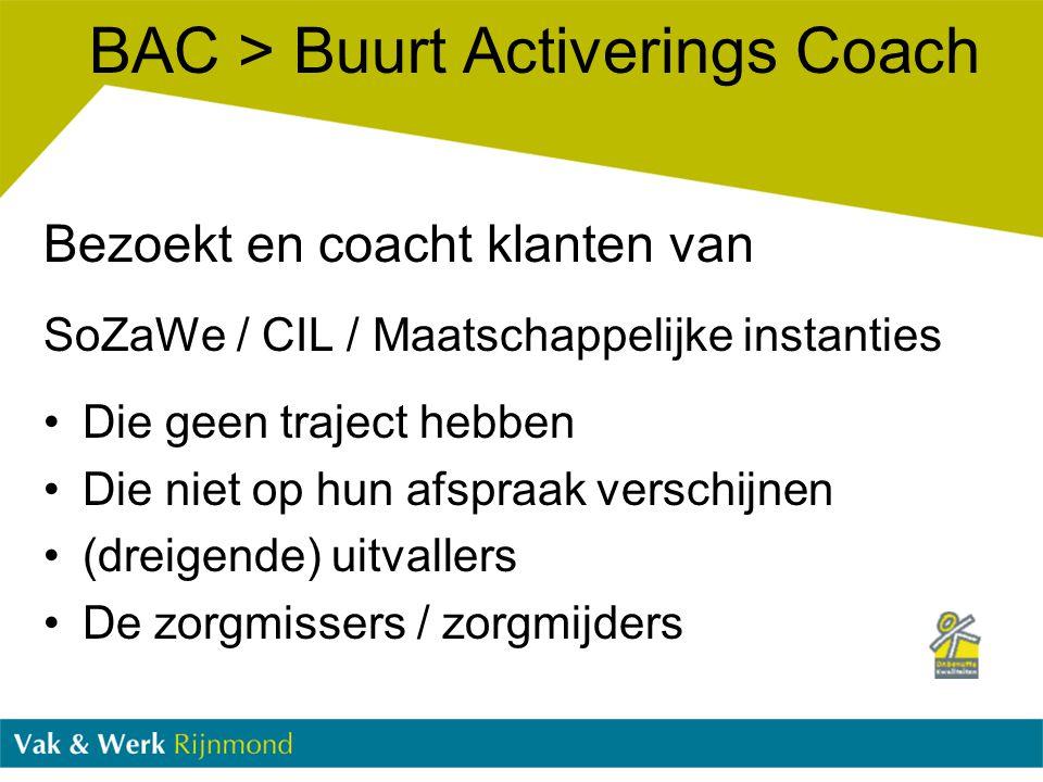 BAC > Buurt Activerings Coach Bezoekt en coacht klanten van SoZaWe / CIL / Maatschappelijke instanties Die geen traject hebben Die niet op hun afspraa