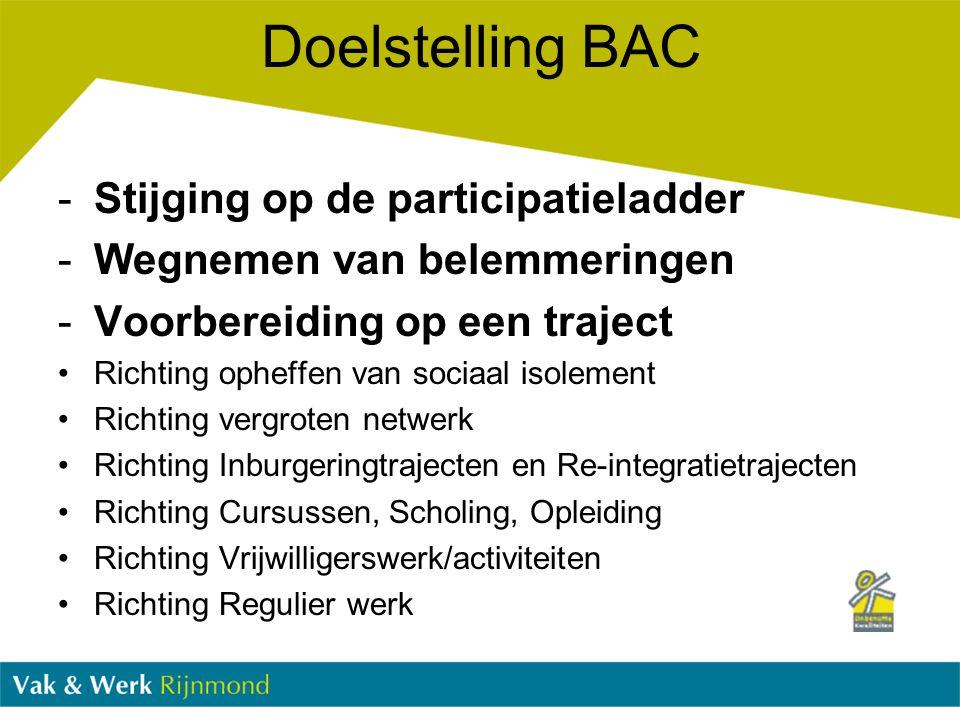 -Stijging op de participatieladder -Wegnemen van belemmeringen -Voorbereiding op een traject Richting opheffen van sociaal isolement Richting vergrote