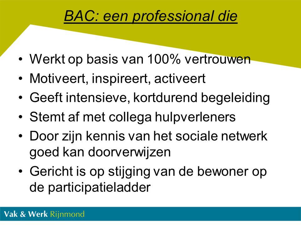 BAC: een professional die Werkt op basis van 100% vertrouwen Motiveert, inspireert, activeert Geeft intensieve, kortdurend begeleiding Stemt af met co