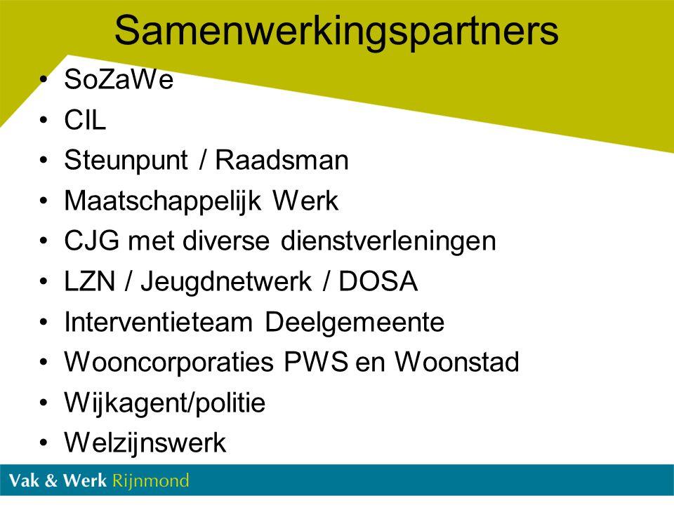 Samenwerkingspartners SoZaWe CIL Steunpunt / Raadsman Maatschappelijk Werk CJG met diverse dienstverleningen LZN / Jeugdnetwerk / DOSA Interventieteam