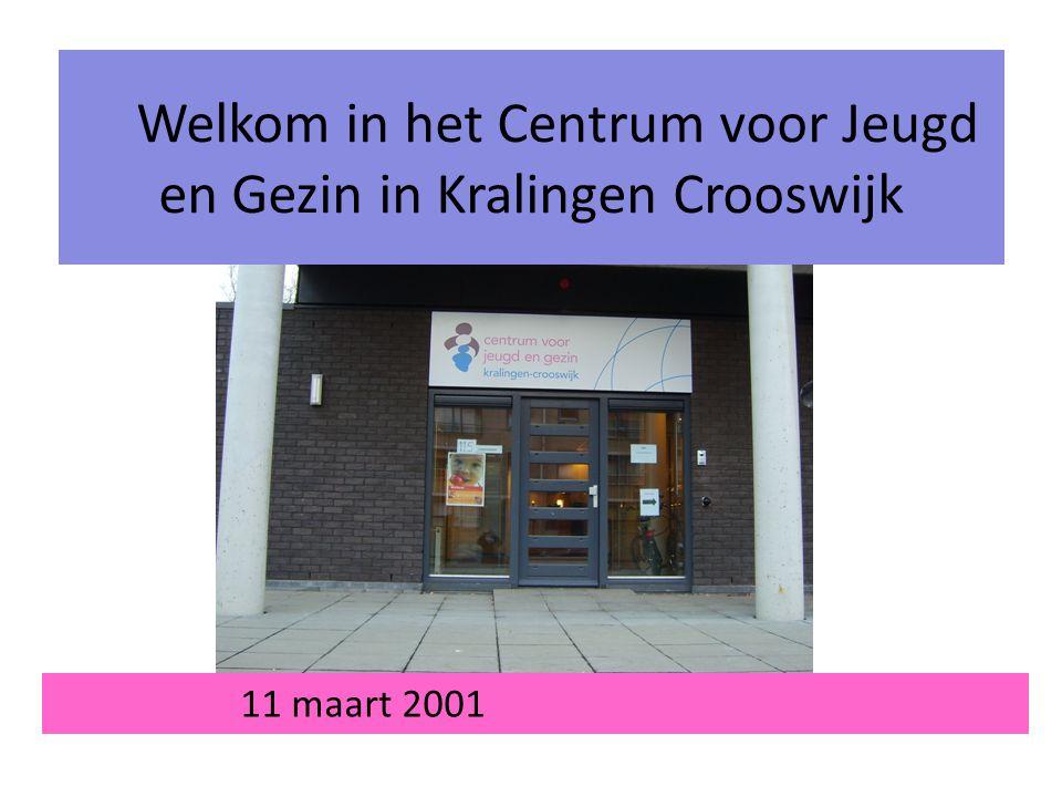 11 maart 2001 Welkom in het Centrum voor Jeugd en Gezin in Kralingen Crooswijk