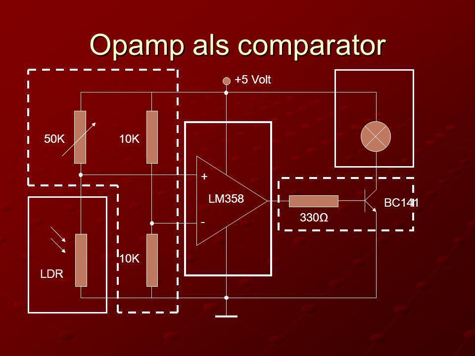 Opamp als comparator + - +5 Volt 10K 330Ω BC141 LM358 LDR 50K