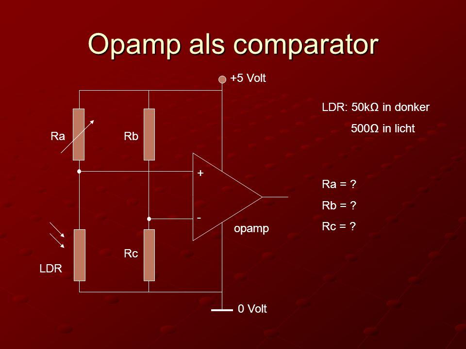 Opamp als comparator opamp + - 0 Volt +5 Volt Rb Rc LDR: 50kΩ in donker 500Ω in licht Ra = .
