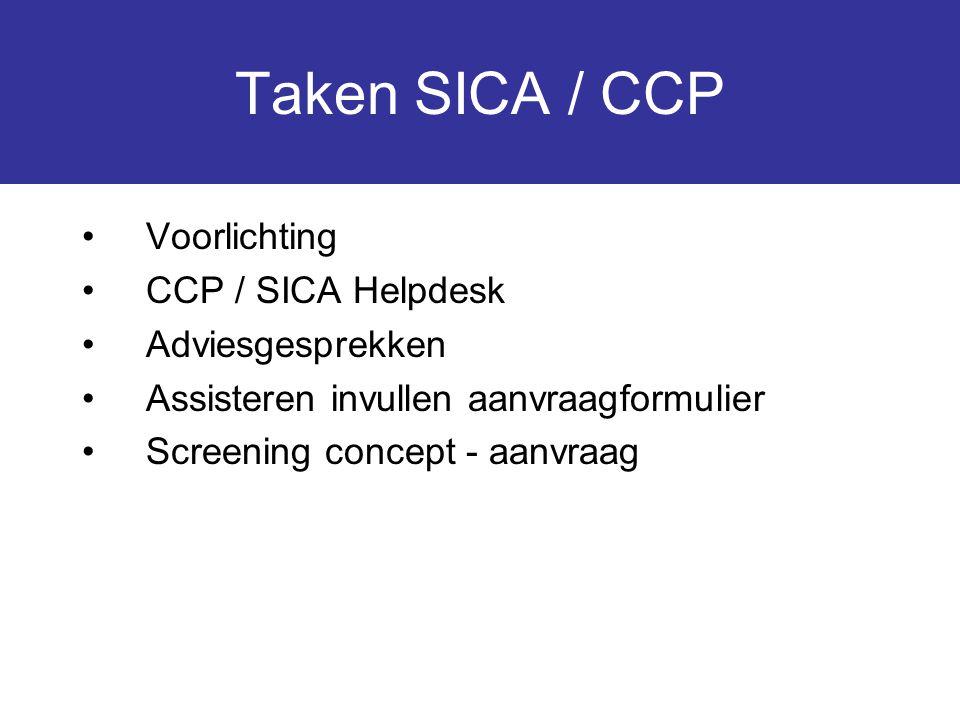 Taken SICA / CCP Voorlichting CCP / SICA Helpdesk Adviesgesprekken Assisteren invullen aanvraagformulier Screening concept - aanvraag
