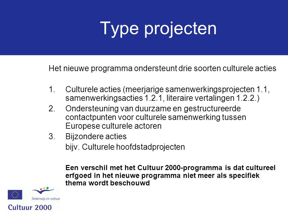Type projecten Het nieuwe programma ondersteunt drie soorten culturele acties 1.Culturele acties (meerjarige samenwerkingsprojecten 1.1, samenwerkingsacties 1.2.1, literaire vertalingen 1.2.2.) 2.Ondersteuning van duurzame en gestructureerde contactpunten voor culturele samenwerking tussen Europese culturele actoren 3.Bijzondere acties bijv.