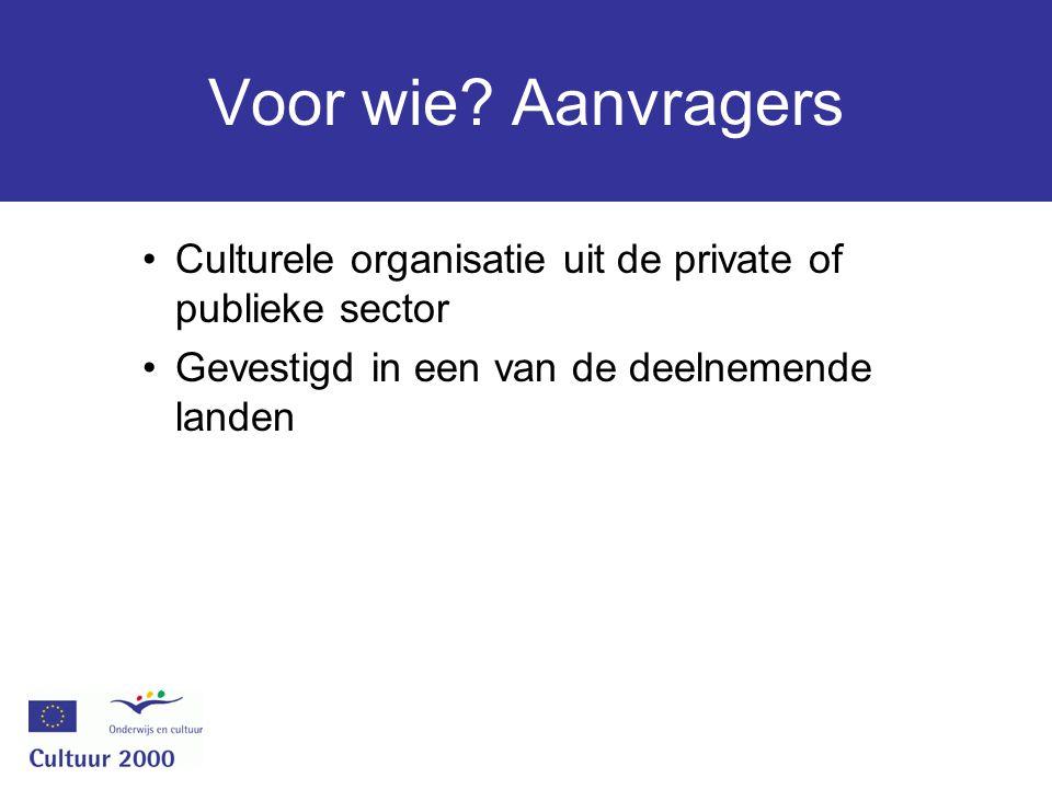 Voor wie? Aanvragers Culturele organisatie uit de private of publieke sector Gevestigd in een van de deelnemende landen
