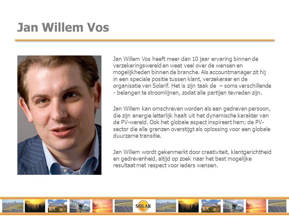 Jan Willem Vos Jan Willem Vos heeft meer dan 10 jaar ervaring binnen de verzekeringswereld en weet veel over de wensen en mogelijkheden binnen de bran