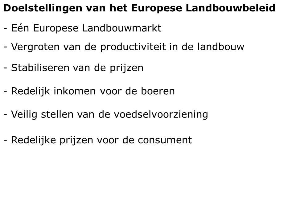 Doelstellingen van het Europese Landbouwbeleid - Eén Europese Landbouwmarkt - Vergroten van de productiviteit in de landbouw - Redelijk inkomen voor d