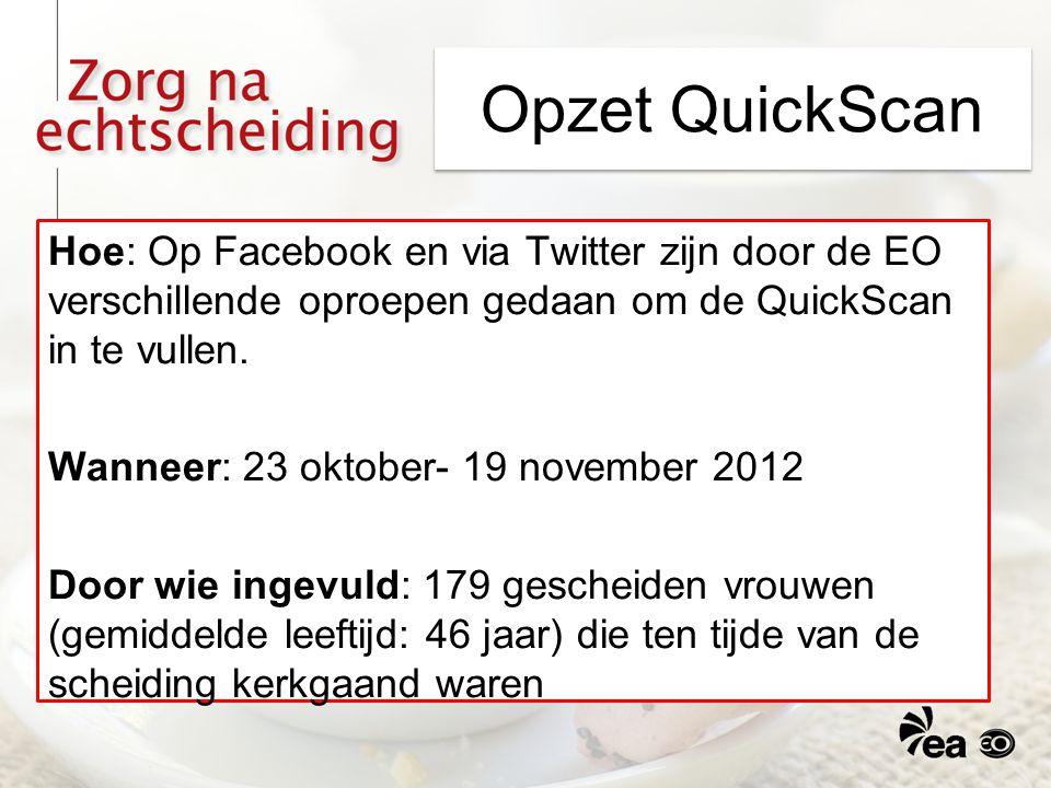 Opzet QuickScan Hoe: Op Facebook en via Twitter zijn door de EO verschillende oproepen gedaan om de QuickScan in te vullen. Wanneer: 23 oktober- 19 no