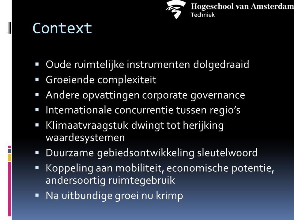 Context  Oude ruimtelijke instrumenten dolgedraaid  Groeiende complexiteit  Andere opvattingen corporate governance  Internationale concurrentie t