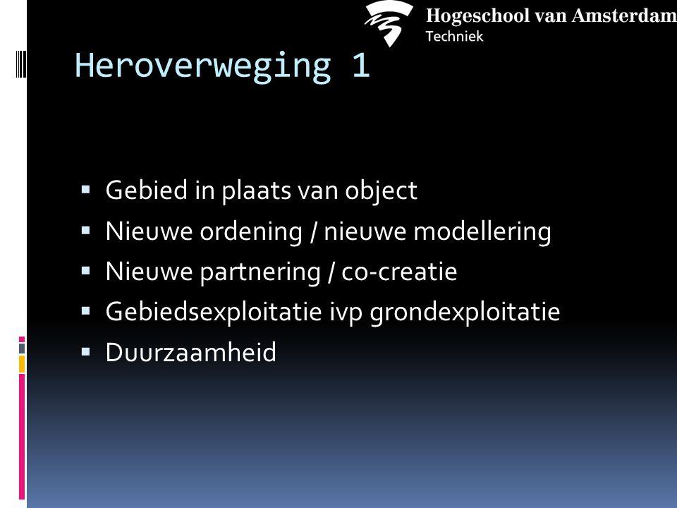 Heroverweging 1  Gebied in plaats van object  Nieuwe ordening / nieuwe modellering  Nieuwe partnering / co-creatie  Gebiedsexploitatie ivp grondexploitatie  Duurzaamheid