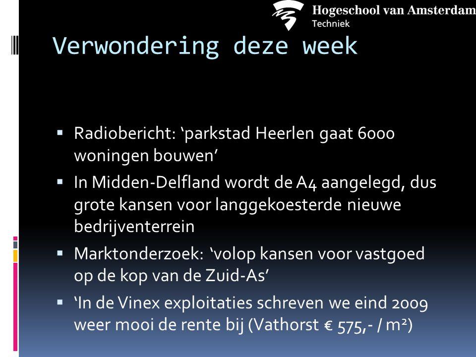 Verwondering deze week  Radiobericht: 'parkstad Heerlen gaat 6000 woningen bouwen'  In Midden-Delfland wordt de A4 aangelegd, dus grote kansen voor