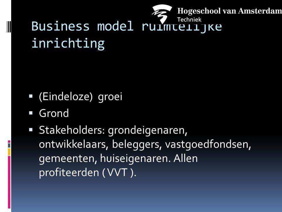 Business model ruimtelijke inrichting  (Eindeloze) groei  Grond  Stakeholders: grondeigenaren, ontwikkelaars, beleggers, vastgoedfondsen, gemeenten, huiseigenaren.