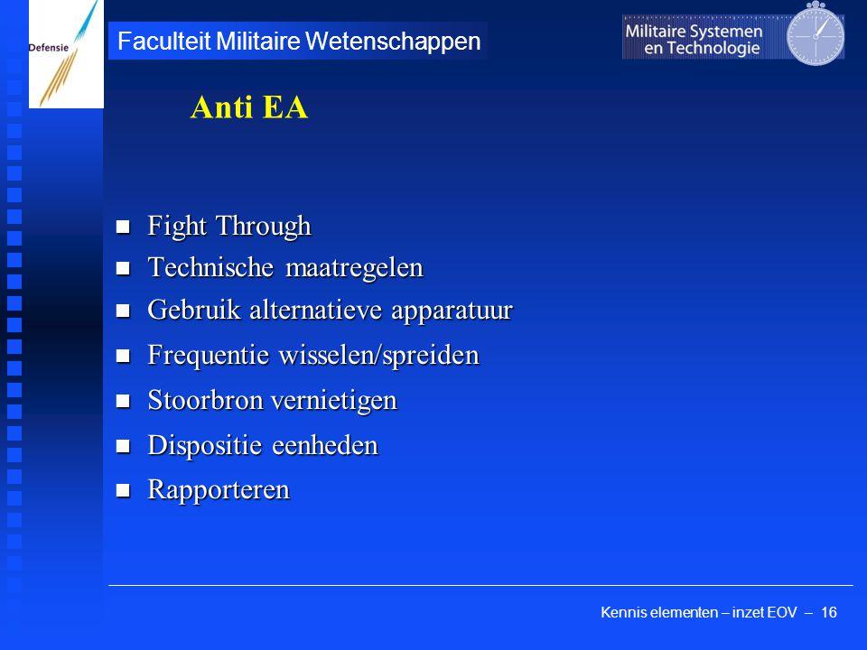 Kennis elementen – inzet EOV – 16 Faculteit Militaire Wetenschappen Fight Through Fight Through Technische maatregelen Technische maatregelen Gebruik