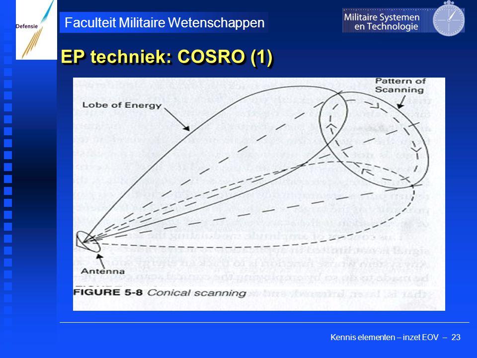 Kennis elementen – inzet EOV – 23 Faculteit Militaire Wetenschappen EP techniek: COSRO (1)