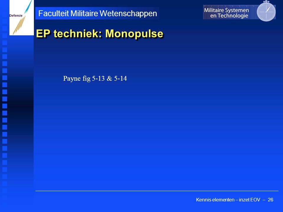 Kennis elementen – inzet EOV – 26 Faculteit Militaire Wetenschappen EP techniek: Monopulse Payne fig 5-13 & 5-14