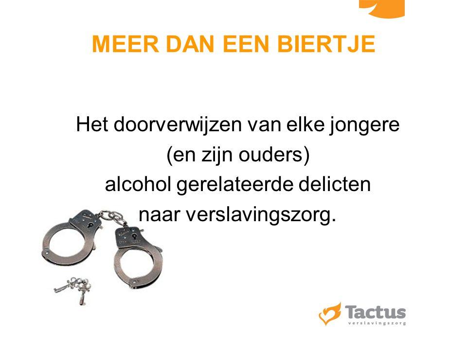 MEER DAN EEN BIERTJE Het doorverwijzen van elke jongere (en zijn ouders) alcohol gerelateerde delicten naar verslavingszorg.