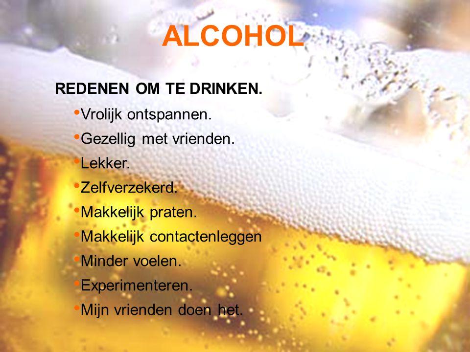 ALCOHOL REDENEN OM TE DRINKEN. Vrolijk ontspannen. Gezellig met vrienden. Lekker. Zelfverzekerd. Makkelijk praten. Makkelijk contactenleggen Minder vo