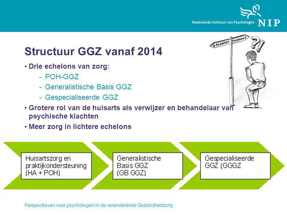 Structuur GGZ vanaf 2014 Drie echelons van zorg: -POH-GGZ -Generalistische Basis GGZ -Gespecialiseerde GGZ Grotere rol van de huisarts als verwijzer e