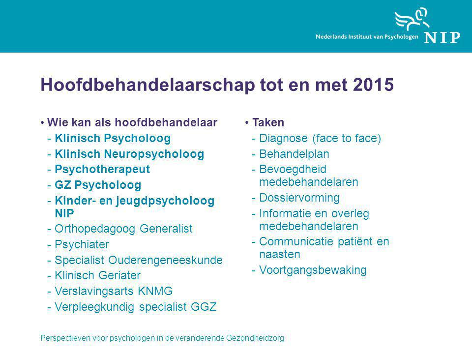 Hoofdbehandelaarschap tot en met 2015 Wie kan als hoofdbehandelaar -Klinisch Psycholoog -Klinisch Neuropsycholoog -Psychotherapeut -GZ Psycholoog -Kin