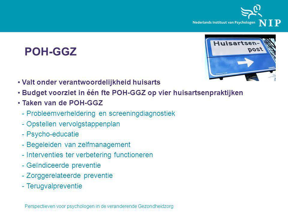 POH-GGZ Valt onder verantwoordelijkheid huisarts Budget voorziet in één fte POH-GGZ op vier huisartsenpraktijken Taken van de POH-GGZ -Probleemverheldering en screeningdiagnostiek -Opstellen vervolgstappenplan -Psycho-educatie -Begeleiden van zelfmanagement -Interventies ter verbetering functioneren -Geïndiceerde preventie -Zorggerelateerde preventie -Terugvalpreventie