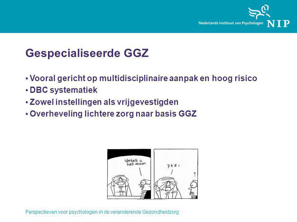 Perspectieven voor psychologen in de veranderende Gezondheidzorg Gespecialiseerde GGZ Vooral gericht op multidisciplinaire aanpak en hoog risico DBC systematiek Zowel instellingen als vrijgevestigden Overheveling lichtere zorg naar basis GGZ