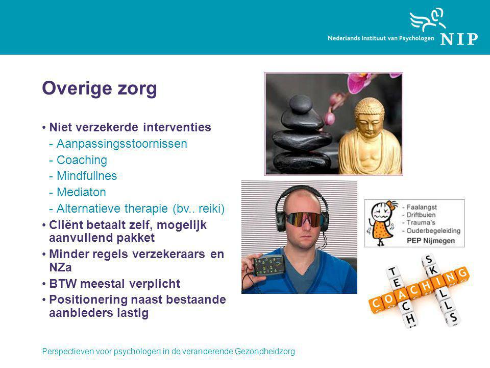 Overige zorg Niet verzekerde interventies -Aanpassingsstoornissen -Coaching -Mindfullnes -Mediaton -Alternatieve therapie (bv.. reiki) Cliënt betaalt